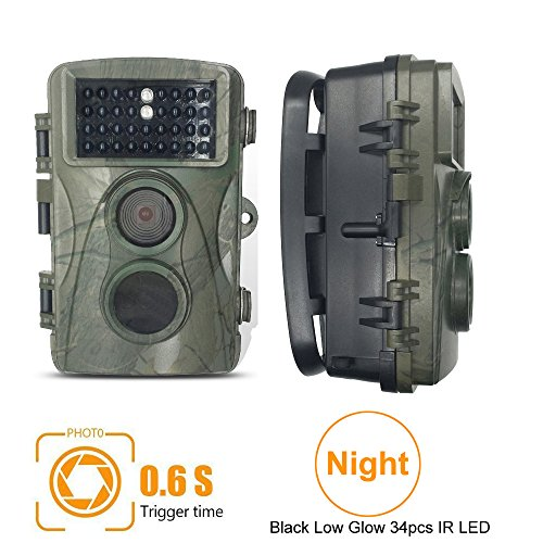 Digital Game Trail Camera, Kuman 720P HD Wildlife Hunting Camera 0.6 second Trigger Speed Digital Surveillance Camera 12 Mega pixel Waterproof with 34pcs IR LED for Night Vision Scouting H301