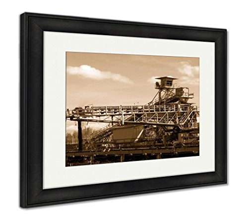 Ashley Framed Prints Large Conveyor Belt Carrying Coal and Emptying onto A Huge Pile, Wall Art Home Decoration, Sepia, 26x30 (Frame Size), Black Frame, AG6176005
