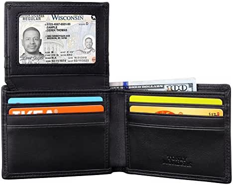 Tonly Monders RFID Blocking Men's Full Grain Leather Wallet Bifold Slim Front Pocket Wallet
