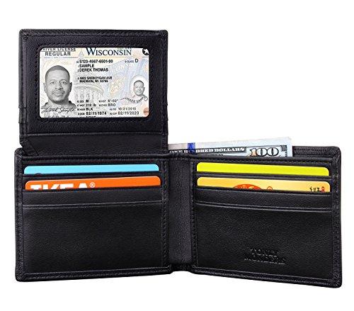 locking Men's Full Grain Leather Wallet Bifold Slim Front Pocket Wallet, Credit Card Holder Small Thin Wallet Black (Leather Front Flap)