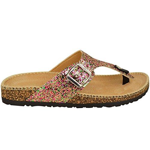 Sandali Infraditi Da Donna Fashion Assetati Glitter Infradito Slip On Toe Post Perizoma Taglia Rosa / Glitter Multicolore