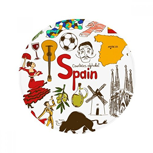 Spain Landscap Animals National Flag Anti-slip Floor Pet Mat Round Bathroom Living Room Kitchen Door 60/50cm Gift by DIYthinker