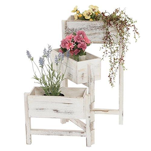Pflanzregal, Standregal Blumenständer, Höhe: 65cm Shabby-Look Vintage ~ weiß