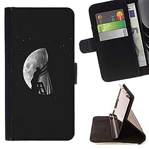 Momo Phone Case / Flip Funda de Cuero Case Cover - Luna Modern Art profundo significado artístico - Huawei Ascend P8 (Not for P8 Lite)