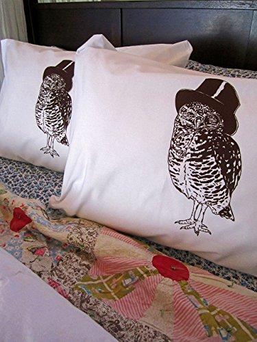 Owl Screen Printed Bedding Pillowcase Set of 2