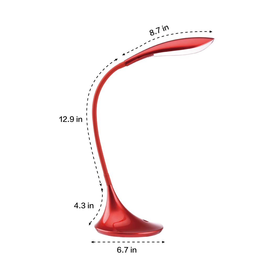LED Desk Lamp Swing Arm Table Lamp, Dimmable Portable Gooseneck Red Reading Lights with USB Charging Port, Touch Contral Office/Bedroom/College, Back to School by ACG-INC (Image #2)