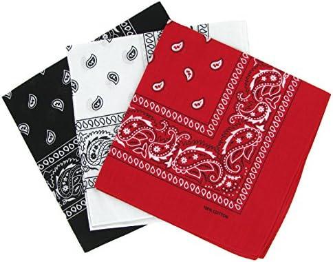 Set 3 bandanas paisley damen und herren rot, weiß, schwarz 57x57cm