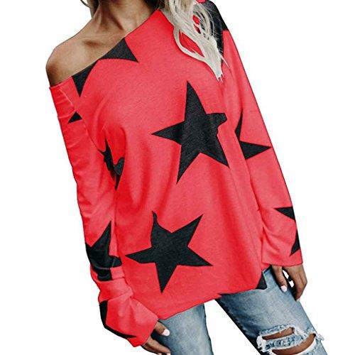 Manica Base Lunga Donna di Stelle Vestiti Top Casual Sciolto Mengonee Stampate Rosso Camicia One Offerta Spalla 54fqxwwg