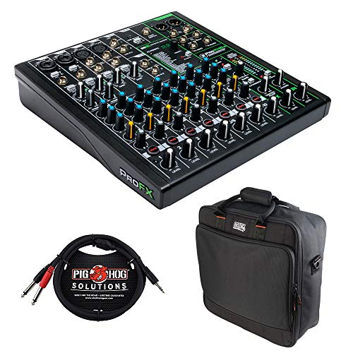Mackie ProFX10v3 10-Channel Sound Reinforcement Mixer with Built-In FX, Gator Cases G-MIXERBAG-1515 Mixer Bag & Stereo Cable 10' Bundle