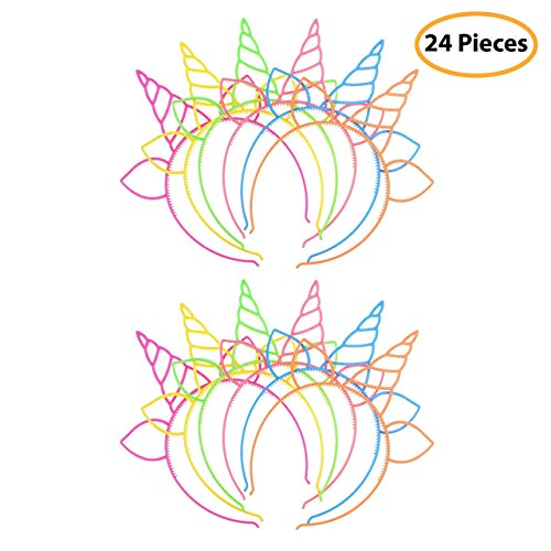7 Colors Kids 24 Pack Plastic Unicorn Headband Unicorn Party Supply Party Favor Girl Hair Accessory
