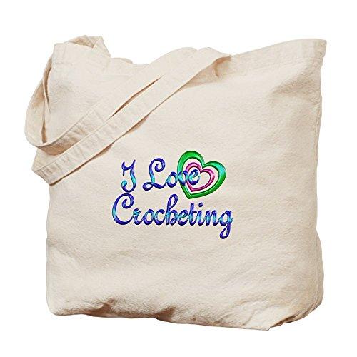 CafePress–I Love Crocheting–Borsa di tela naturale, panno borsa per la spesa