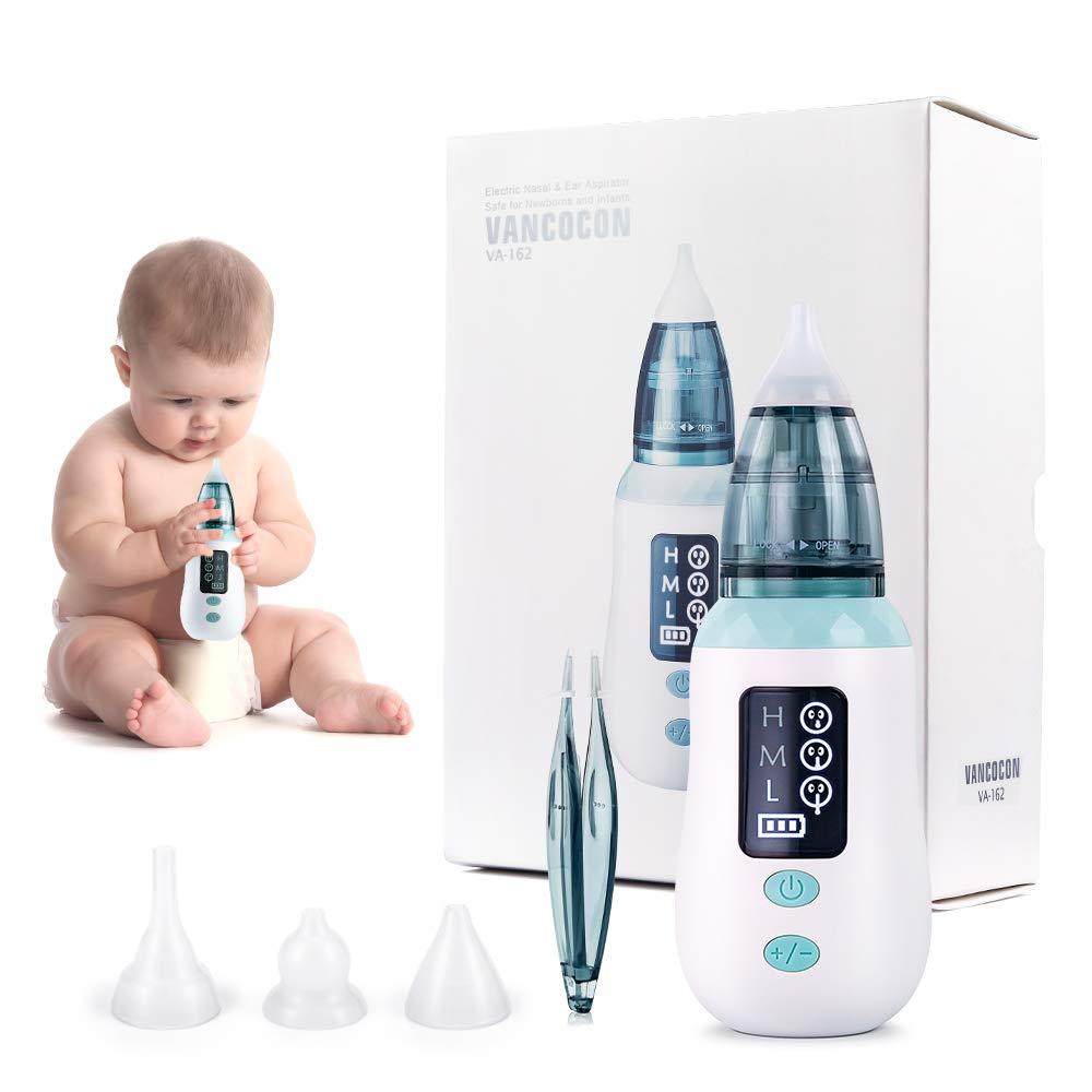 Aspirador nasal removedor de cera para los o/ídos con 4 boquillas reutilizables para beb/és y ni/ños peque/ños limpiador de nariz de carga USB Bichiro con 3 niveles de succi/ón