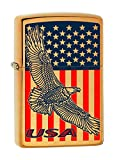 Zippo Lighter - Engraved Flying Eagle w usa Flag Brushed Brass