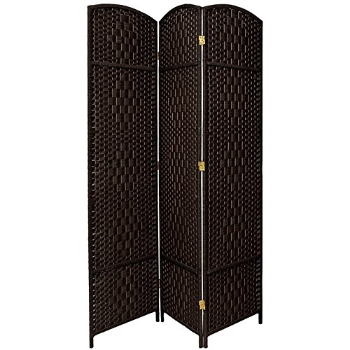 Oriental Furniture 7 ft. Tall Diamond Weave Room Divider - Black - 3 Panels by ORIENTAL FURNITURE