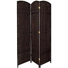 Oriental Furniture 7 ft. Tall Diamond Weave Room Divider - Black - 3 Panels
