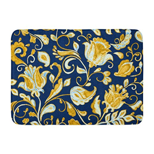 Whimsical,Darkchocl Decorative Bath Mat Watercolor Floral Flower Pattern Tiling Absorbent Non Slip 100% Flannel 17''L x 24''W for Bathroom Toilet Bath Tub Living Room