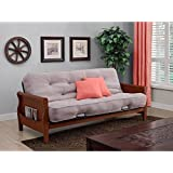 Solid Wood Arm Metal Futon With 8' Soft Twill-CoveredCoil Mattress and Cushions in Tan/Walnut