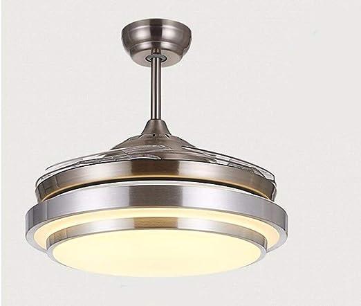 Diseño de estilo europeo, lámpara de ventilador blanca plateada Ventilador invisible Hoja de techo Ventilador con ...