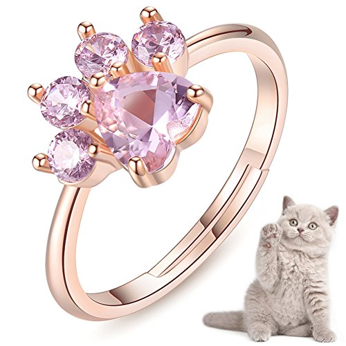 Cute Pet Cat Dog Bear Paw Rings For Teen Girls Women Rose Gold Adjustable Heart-shaped Pink Zircon Lovely Copper Rings For Arthritis Cat Dog Claw Ring for Girlfriends Her Ladies Friend Size 6,7,8,9