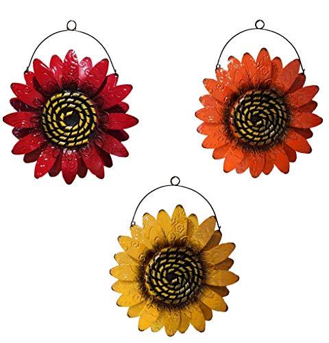 (Oak Street Sunflower Metal Wall Decor, One Orange and One Red Flower, for Indoor Living Room, Bedroom, Bathroom or Outdoor Garden and Patio)