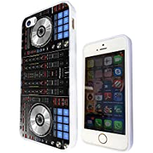 1061 - Cool Fun DJ Mixer Turntable Vintage Retro Music Dance Clubber Rnb Hip Hop Rave Club Design iphone 5 5S Fashion Trend CASE Gel Rubber Silicone All Edges Protection Case Cover - White
