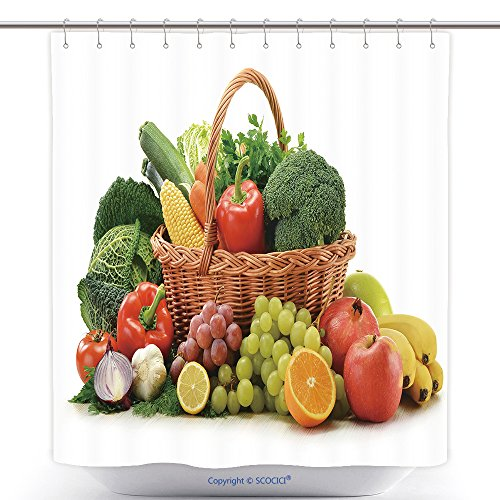 vanfan-Polyester Shower Curtains Composition With Vegetables And Fruits In Wicker Basket Isolated On White Polyester Bathroom Shower Curtain Set With Hooks(36 x 78 inches)