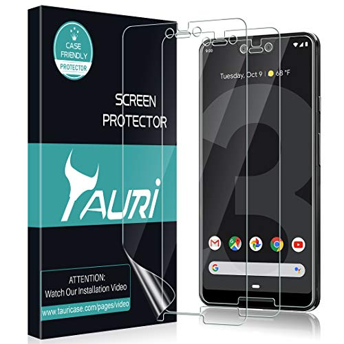 TAURI [3-Pack] Screen Protector for Google Pixel 3 XL, Full Coverage Screen Protector Case-Friendly Anti-Bubble HD Clear Flexible Film, Lifetime Replacement Warranty