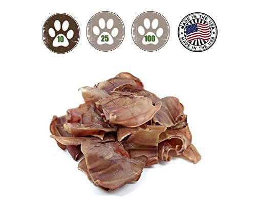Pig Ears 10 Pack - Made in the USA - Full Large Pig Ears by Top Dog Chews