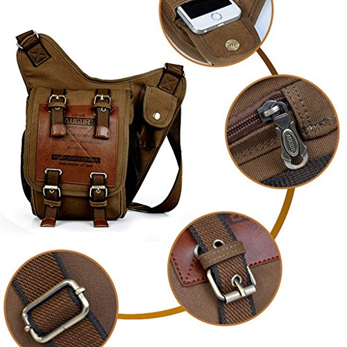 Mochila Bolso Bolsa de Pecho Paquete Cintura Mensajero Lona Vendimia - Café: Amazon.es: Deportes y aire libre