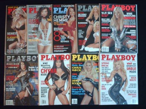 (PLAYBOY MAGAZINE (9ct Lot) WWE Superstar Diva's ,2007 Ashley Massaro, 2006 Candice Michelle, 2005 Christy Hemme, 2004 Sable vs Torrie, 2003 Torrie Wilson, 2002 & 2000 Chyna, 1999 Sable 1 & 2 (WWE - Wrestling!))