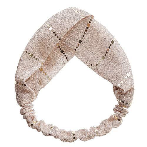 Fashion Womens Sequins Headband Elastic Cross Hairband Hair Accessories (Colors - Pink)