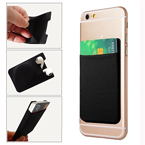GreatforU Phone Card Holder Stick on Cell Phone Case Ultra-slim Adhesive Credit Card Pocket Money Wallet Sticker Lycra Universal Fits for Smartphones, iPhone 7, iPhone 6/6S Plus (Black) (Htc G4 Case Evo)