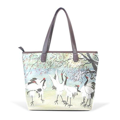 COOSUN Birds PU Leder Schultertasche Handtasche für Frauen Mädchen