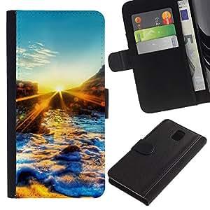 Be Good Phone Accessory // Caso del tirón Billetera de Cuero Titular de la tarjeta Carcasa Funda de Protección para Samsung Galaxy Note 3 III N9000 N9002 N9005 // Sunset Beautiful Nat