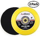 "LotFancy 6-Inch Velcro Backing Plates - DA Air Random Orbital Sander/Polisher PU Backing Pad for Sanding Finishing Polishing Buffing, 5/16""-24 Threads, Pack of 2"