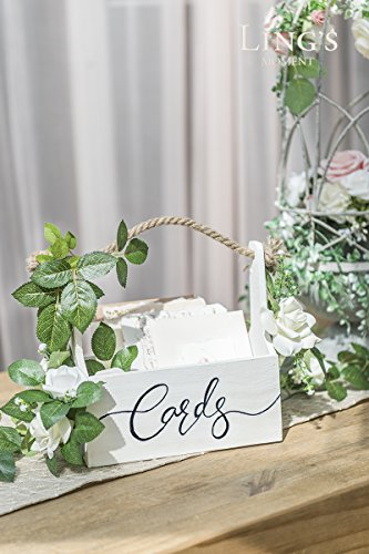 Ling's moment Rustic Wooden Card Box DIY Floral Basket Shape for Wedding, Bridal Shower, Baby Shower, Graduation Party by Ling's moment (Image #2)