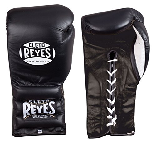 Cleto Reyes Boxing Training Gloves With laces and attached thumb - Black - 12-Ounce