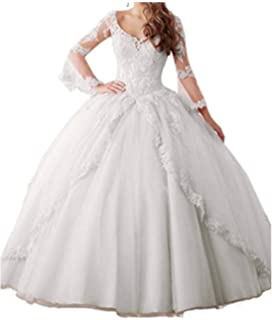 22ced5542e Annadress Women s Long Sleeve Lace Quinceanera Dresses Train V-Neck Ball  Gown