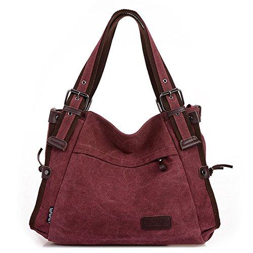 Bag Handbag Casual Women's Messenger Style Retro Bag Canvas Dark Hobo Red Shoulder xqXBwZpz
