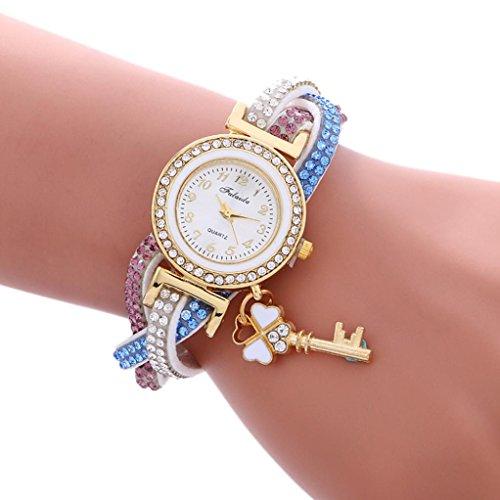Price comparison product image AMA(TM) Women Fashion Wrap Around Padlock Diamond Leather Bracelet Wrist Watch (White)