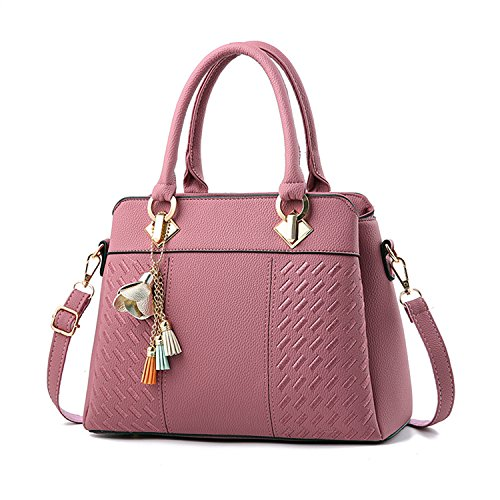 Womens Handbags and Purses Fashion Top Handle Satchel Tote PU Leather Shoulder Bags, Rubber Pink