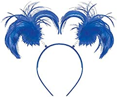 "Feathers and Ponytails Headband Costume Party Headwear Accessory, Blue, Plastic, 5"" x 8""."