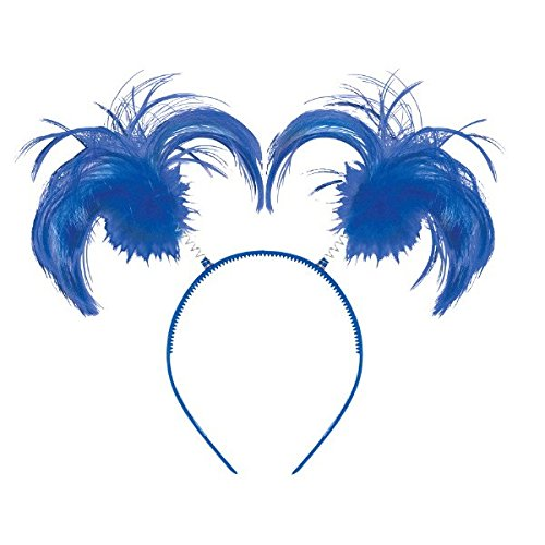 Thing 1 Costume Girl (Feathers and Ponytails Headband Costume Party Headwear Accessory, Blue, Plastic, 5