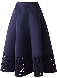 Bestfort Damen Hepburn Kleid Knielange Hohe Taille Schöne Kleider Frauen  Rock Hollow Lace A Linien Rock 9d8ab99a17