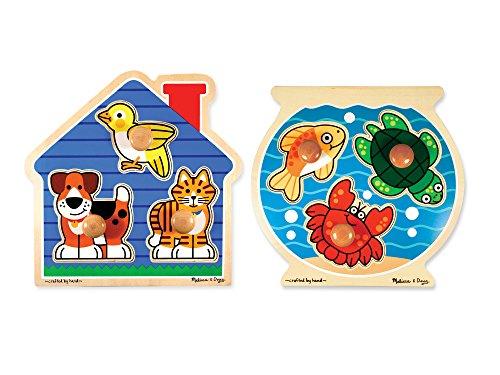 Melissa & Doug Animals Jumbo Knob Wooden Puzzles Set – Fish and Pets