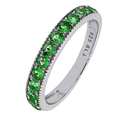 BL Jewelry Sterling Silver Round Genuine Natural Gemstone Stackable Half Eternity Band Ring (9, Chrome-Diopside)