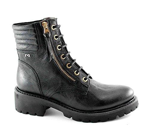 BLACK GARDENS 16532 Black woman boots amphibious zip ties Nero