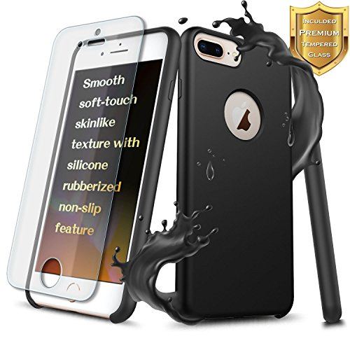 NageBee Liquid Silicone Gel Rubber Case Compatible Apple iPhone 8 Plus / 7 Plus/ 6 Plus/ 6S Plus w/[Tempered Glass Screen Protector] Slim Soft Shockproof Cover w/Microfiber Cloth Lining Cushion -Black -