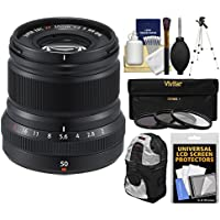 Fujifilm 50mm f/2.0 XF R WR Lens (Black) with 3 UV/CPL/ND8 Filters + Tripod + Backpack + Kit