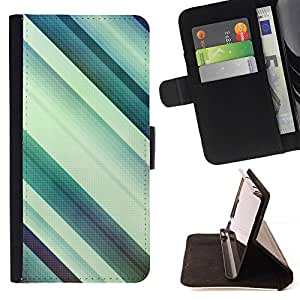 For Sony Xperia Z2 D6502 Case , Paralelo Pastel Teal blanco Limpio- la tarjeta de Crédito Slots PU Funda de cuero Monedero caso cubierta de piel
